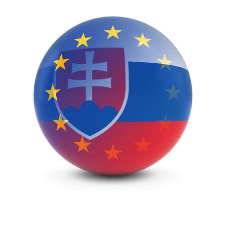 slovakian: Slovakian and European Flag Ball - Fading Flags of Slovakia and the EU