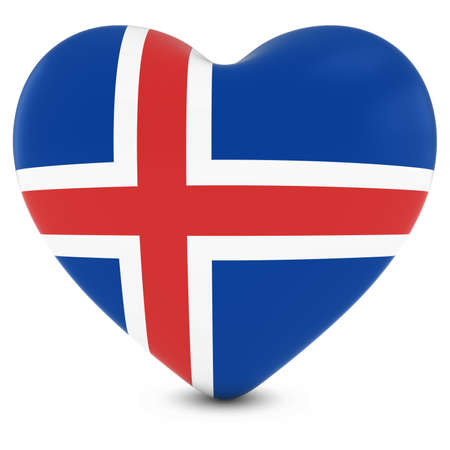icelandic flag: Love Iceland Concept Image - Heart textured with Icelandic Flag