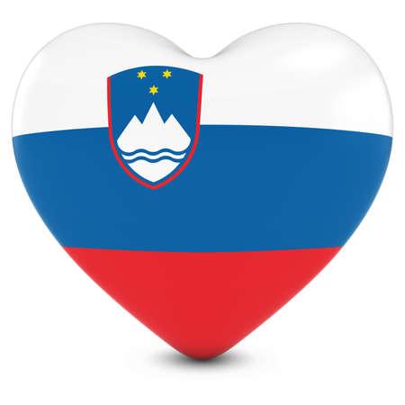 slovenian: Love Slovenia Concept Image - Heart textured with Slovenian Flag Stock Photo