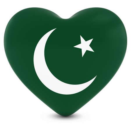 pakistani pakistan: Love Pakistan Concept Image - Heart textured with Pakistani Flag