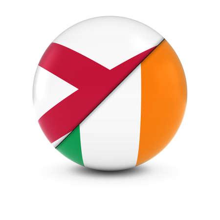 northern ireland: Irish and Northern Irish Flag Ball - Split Flags of Ireland and Northern Ireland