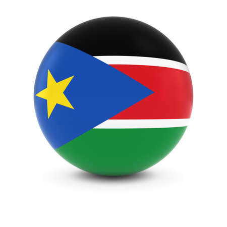 south sudan: South Sudanese Flag Ball - Flag of South Sudan on Isolated Sphere