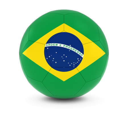 brazilian flag: Brazil Football - Brazilian Flag on Soccer Ball Stock Photo