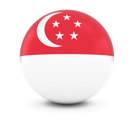 singaporean flag: Singaporean Flag Ball - Flag of Singapore on Isolated Sphere