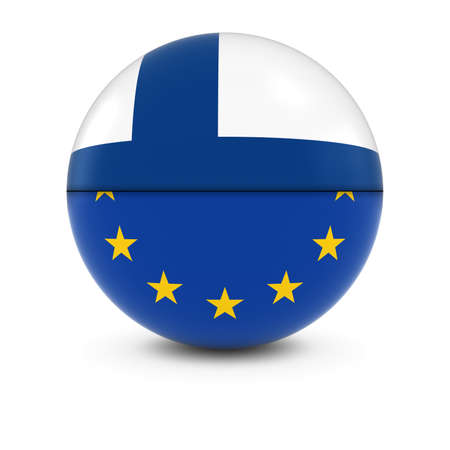 finnish: Finnish and European Flag Ball - Split Flags of Finland and the EU