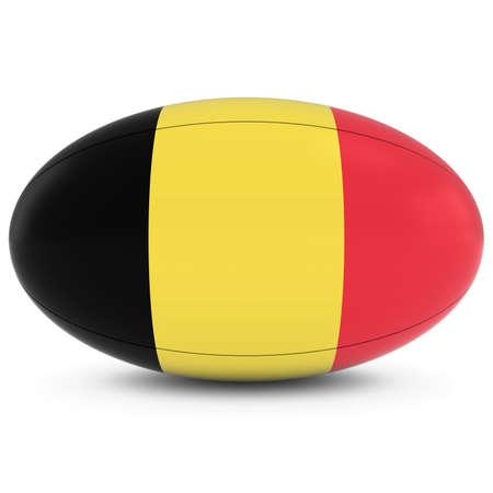 pelota rugby: B�lgica Rugby - Bandera belga sobre Pelota de rugby en blanco