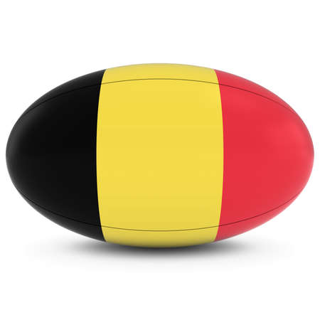 rugby ball: Belgium Rugby - Belgian Flag on Rugby Ball on White