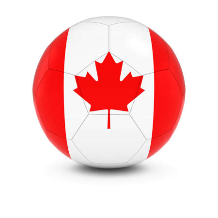 canadian football: Canada Football - Canadian Flag on Soccer Ball Stock Photo