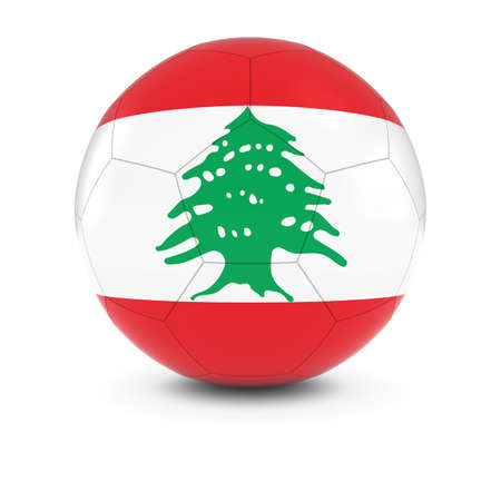 lebanon: Lebanon Football - Lebanese Flag on Soccer Ball Stock Photo