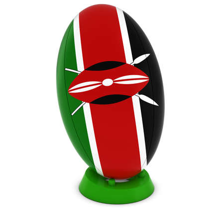 rugby ball: Kenya Rugby - Kenyan Flag on Standing Rugby Ball