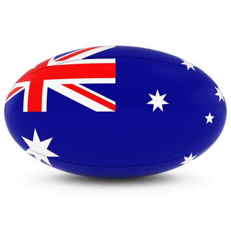 pelota rugby: Australia Rugby - Bandera de Australia en Pelota de rugby en blanco Foto de archivo