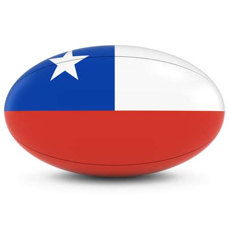 chilean flag: Chile Rugby - Bandera chilena en Pelota de rugby en blanco