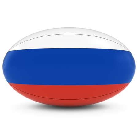 pelota rugby: Rusia Rugby - Bandera de Rusia sobre la bola de rugbi en blanco