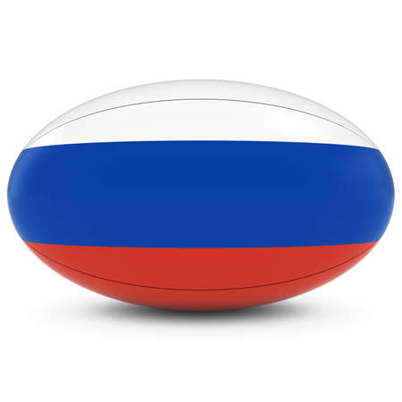 rugby ball: Russia Rugby - Russian Flag on Rugby Ball on White