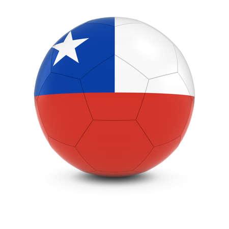 chilean flag: Chile F�tbol - Bandera chilena del bal�n de f�tbol de