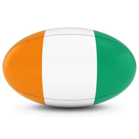 pelota rugby: Costa de Marfil Rugby - Bandera de Costa de Marfil en la Pelota de rugby en blanco Foto de archivo