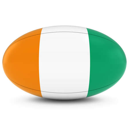 rugby ball: Cote dIvoire Rugby - Ivorian Flag on Rugby Ball on White