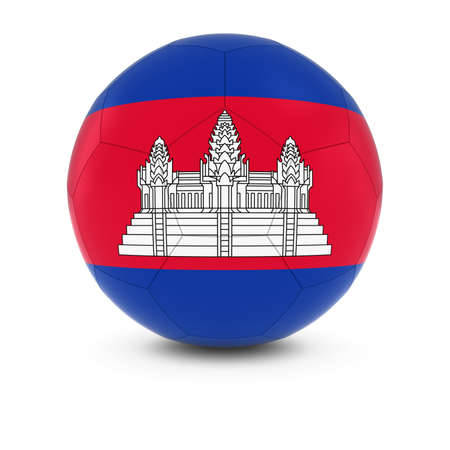 cambodian flag: Cambodia Football - Cambodian Flag on Soccer Ball Stock Photo