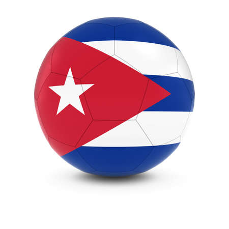 cuban flag: Cuba Football - Cuban Flag on Soccer Ball Stock Photo