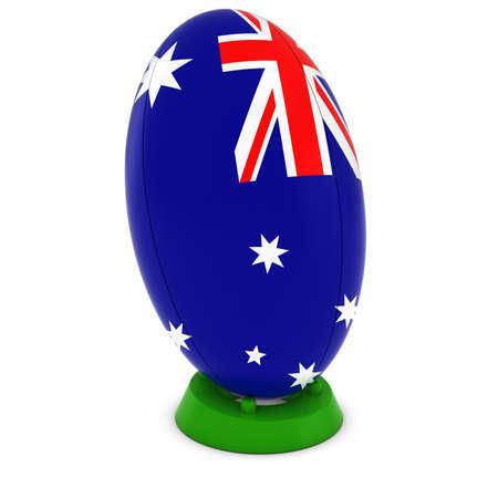 pelota rugby: Australia Rugby - Bandera de Australia sobre Permanente Pelota de rugby Foto de archivo