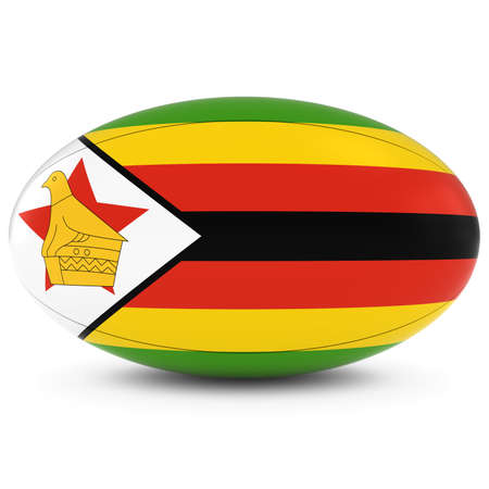 rugby ball: Zimbabwe Rugby - Zimbabwean Flag on Rugby Ball on White