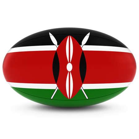 pelota rugby: Kenia Rugby - Bandera de Kenia en la Pelota de rugby en blanco