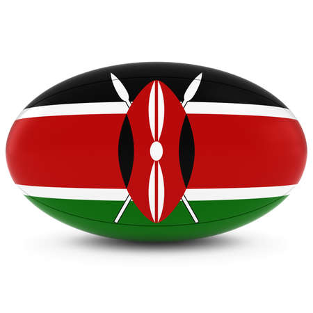 rugby ball: Kenya Rugby - Kenyan Flag on Rugby Ball on White