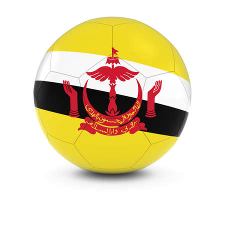brunei: Brunei Football - Bruneian Flag on Soccer Ball Stock Photo