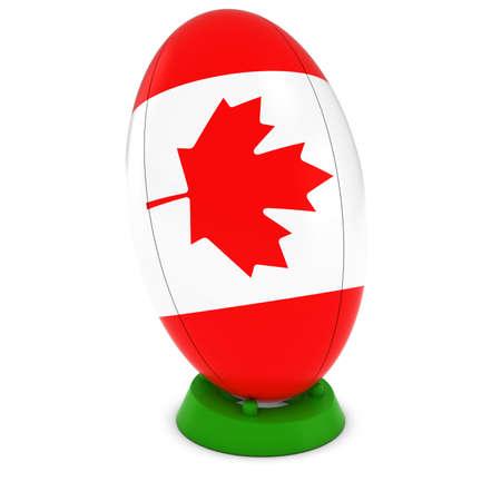 rugby ball: Canadá Rugby - Bandera canadiense en permanente Pelota de rugby Foto de archivo