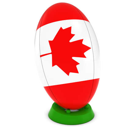 canadian flag: Canada Rugby - Canadian Flag on Standing Rugby Ball
