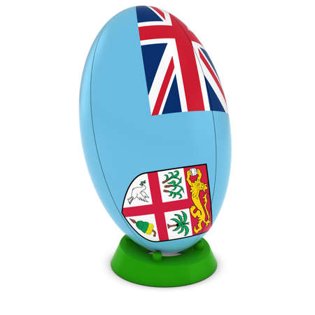 upright: Fiji Rugby - Fijian Flag on Standing Rugby Ball Stock Photo