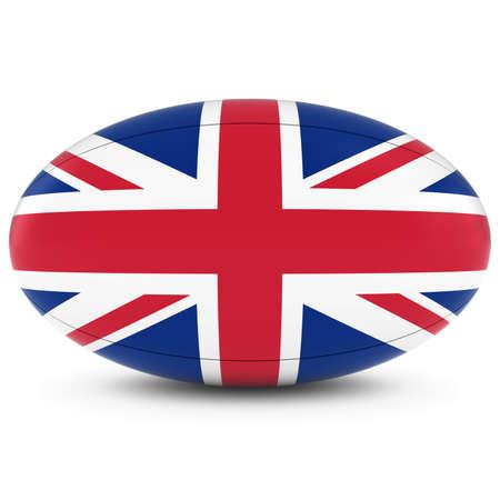 pelota rugby: Reino Unido Rugby - Bandera del Reino Unido sobre la bola de rugbi en blanco