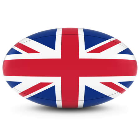 rugby ball: UK Rugby - British Flag on Rugby Ball on White