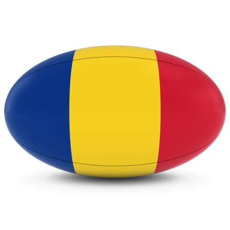 romanian: Romania Rugby - Romanian Flag on Rugby Ball on White