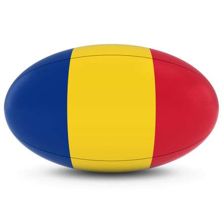 pelota rugby: Rumania Rugby - Bandera de Rumania sobre Pelota de rugby en blanco Foto de archivo