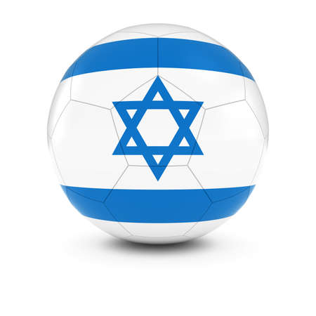 israeli: Israel Football - Israeli Flag on Soccer Ball Stock Photo