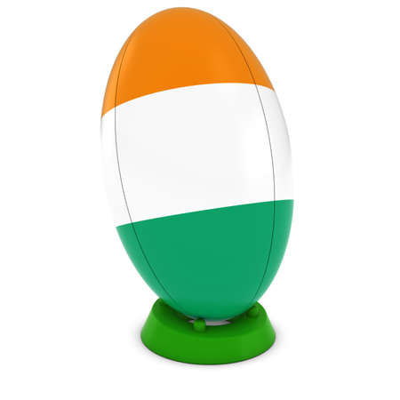 rugby ball: Cote dIvoire Rugby - Ivorian Flag on Standing Rugby Ball