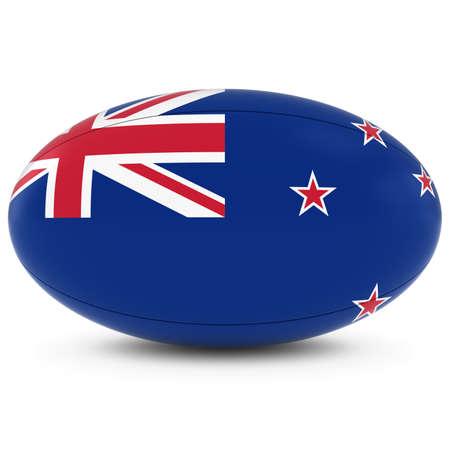 pelota rugby: Rugby de Nueva Zelanda - Bandera de Nueva Zelanda en la bola de rugbi en blanco