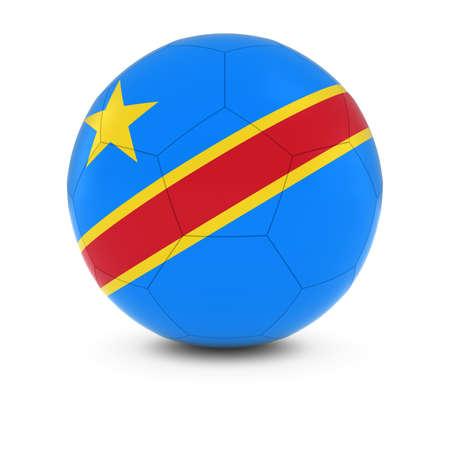 dr: DR Congo Football - Congolese Flag on Soccer Ball Stock Photo