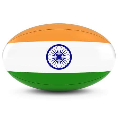 rugby ball: India Rugby - Bandera india en Pelota de rugby en blanco