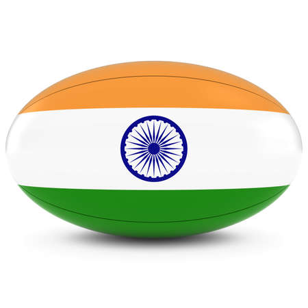 rugby ball: India Rugby - Indian Flag on Rugby Ball on White