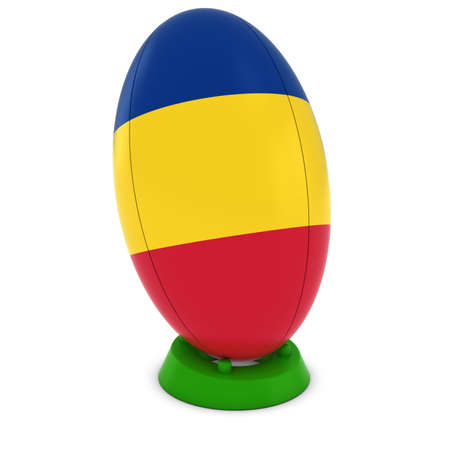 rugby ball: Romania Rugby - Romanian Flag on Standing Rugby Ball