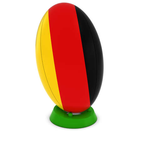rugby ball: Germany Rugby - German Flag on Standing Rugby Ball