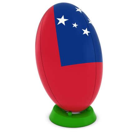 pelota rugby: Samoa Rugby - Bandera de Samoa en pie Pelota de rugby Foto de archivo