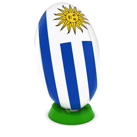 pelota rugby: Uruguay Rugby - Bandera de Uruguay en pie Pelota de rugby