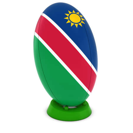 rugby ball: Namibia Rugby - Namibian Flag on Standing Rugby Ball Foto de archivo