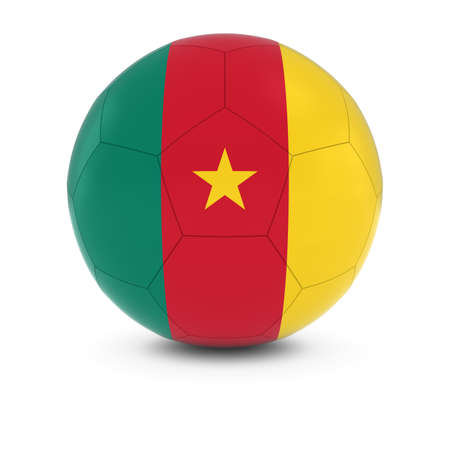 cameroonian: Cameroon Football - Cameroonian Flag on Soccer Ball Stock Photo