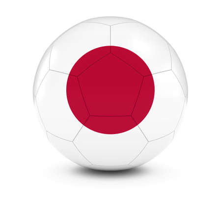 bandera japon: Jap�n F�tbol - Bandera japonesa en bal�n de f�tbol