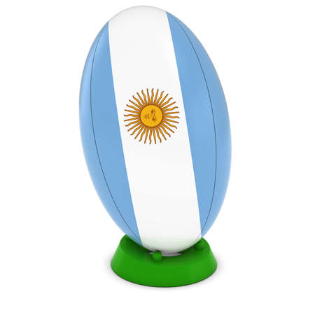 rugby ball: Argentina Rugby - Argentinian Flag on Standing Rugby Ball Foto de archivo