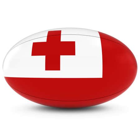 rugby ball: Tonga Rugby - Bandera de Tonga en la Pelota de rugby en blanco